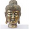 XL Deko Buddha 38cm, Figur Polyresin Skulptur Kopf, In-/Outdoor gold